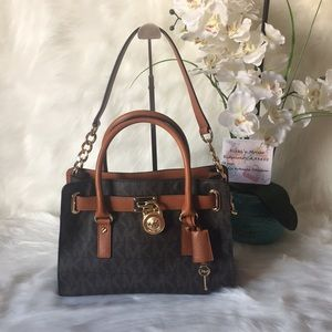 💯authentict  michael kors Hamilton brown